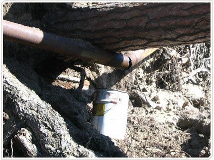 27/04/2008 Причина разлива - разрыв топлипровода упавшими деревями.